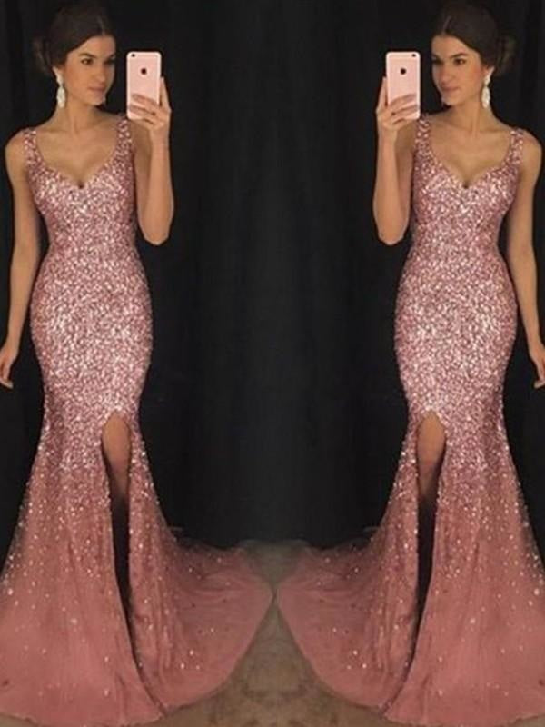 Sweetheart Sheath Mermaid Tulle Fitted Sequined Long Sleeves Sleeveless Ball Gown Sheath Dress/Prom Dress with a Brush/Sweep Train