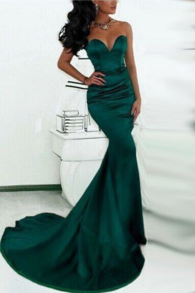 Bridelily Simple Green Sweetheart Mermaid Evening Dress Cheap Custom Made Formal Party Dresses - Prom Dresses