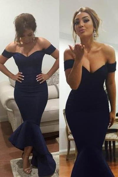 Bridelily Simple Off Shoulder Mermaid Long Formal Occasion Dress Sexy Cheap Trumpet Plus Size Evening Dress - Prom Dresses