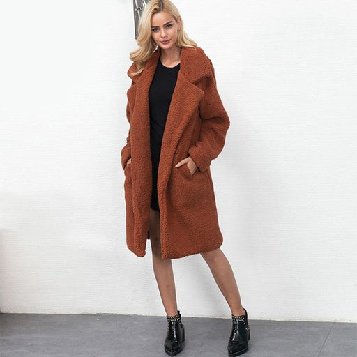 BrideLily Solid Colored Long Sleeve Faux Fur Coats - Coffee / M - womens furs & leathers
