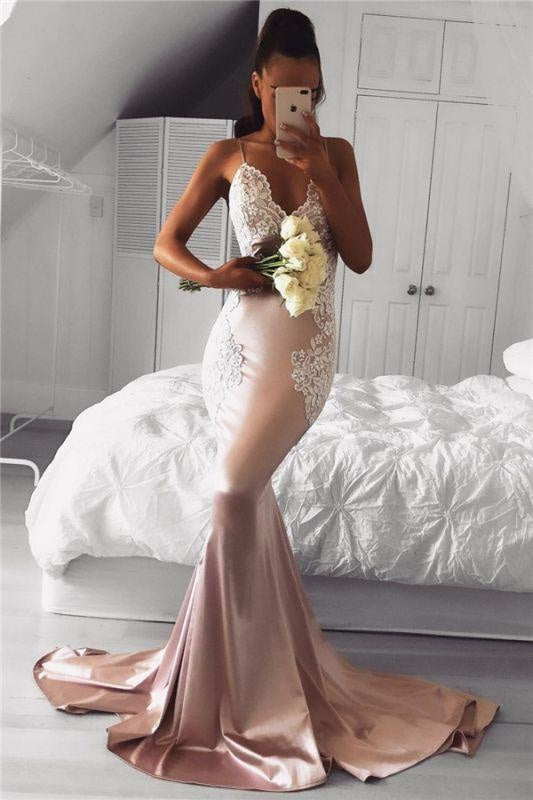 Bridelily Spaghetti Straps V-neck Pink Prom Dresses Lace Mermaid 2019 Cheap Formal Evening Gown FB02019AN0 - Prom Dresses