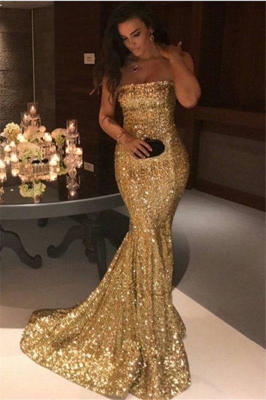 Bridelily Sparkle Gold Sequins Mermaid Evening Gowns Cheap Sexy Strapless Prom Dresses 2019 FB0164 - Prom Dresses