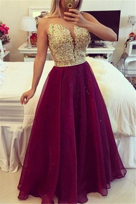 Bridelily Sweetheart Burgundy Chiffon Long Prom Dress Popular Plus Size Formal Evening Dresses BMT020 - Prom Dresses