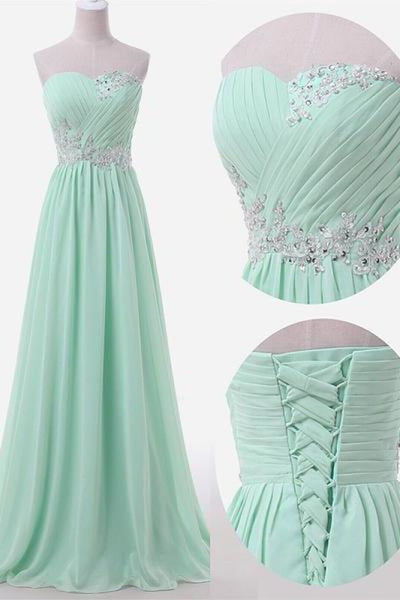 Bridelily Sweetheart Sky Blue Mint Chiffon Prom Dresses Lace Beading Sweep Train Lace-up Back Bridesmaid Dresses - Prom Dresses
