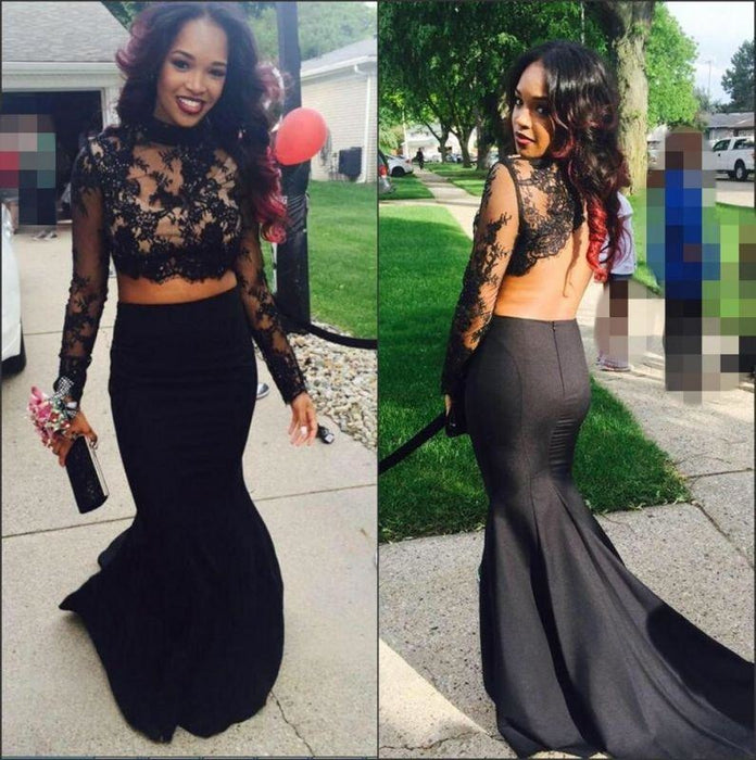 Bridelily Two-Piece Lace Long-Sleeves High-Neck Mermaid Prom Dresses - Prom Dresses