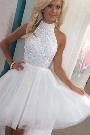 Bridelily White Crystal High Collar Short Homecoming Dresses Tulle Sleeveless Mini Cocktail Gowns - Prom Dresses