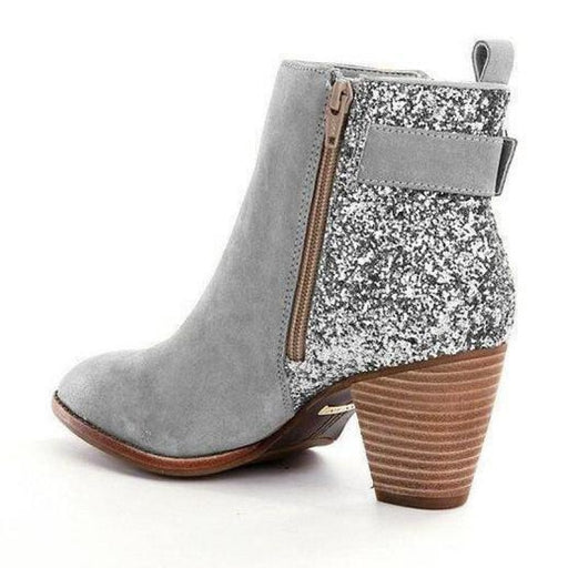 BrideLily Women ankle boots autumn chunky high heels pump Matin shoes woman gladiator shiny booties - Grey / US 4.5 - Boots