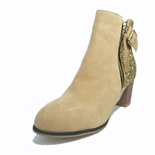 BrideLily Women Ankle Boots High Heels Shoes Suede Leather Boots - Boots