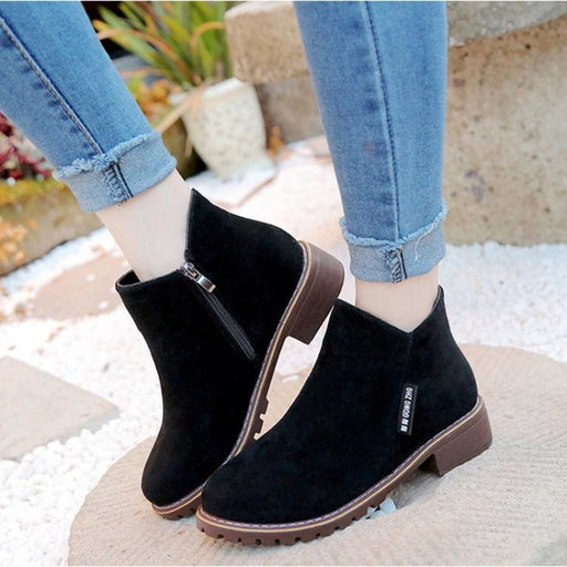 BrideLily Womens Boots Ankle Boots Low Heel Suede Shoes - Black / 35 - Shoes