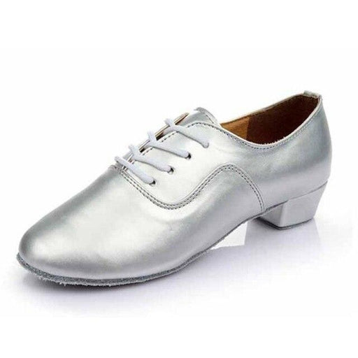 Bright Leather Square Heeled Jazz Dance Shoes | Bridelily - Silver 3.5CM Heel / 11 - jazz dance shoes