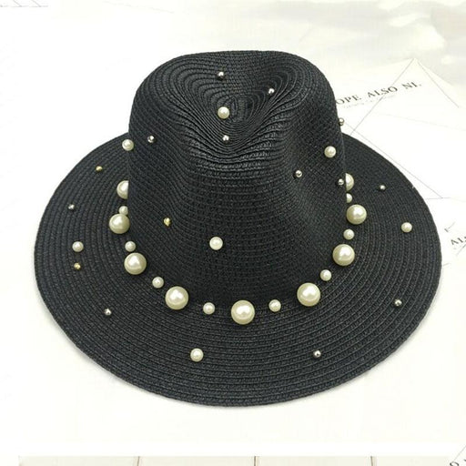 British Pearl Beading Flat Brimmed Flat Straw Hats | Bridelily - straw hats