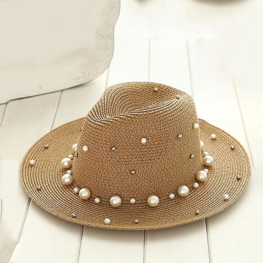 British Pearl Beading Flat Brimmed Flat Straw Hats | Bridelily - beige - straw hats
