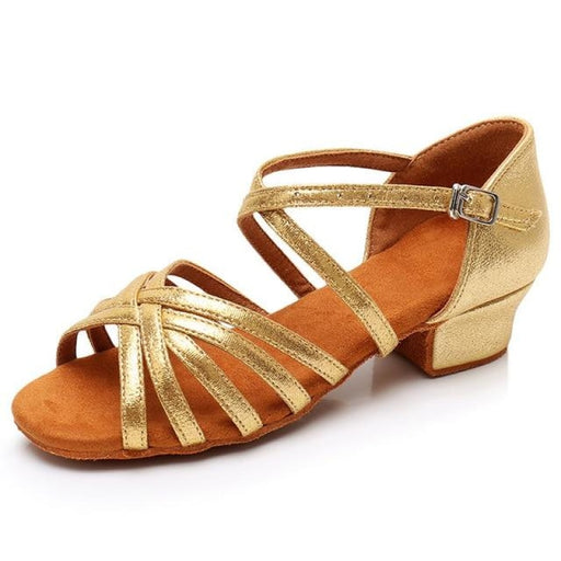 Buckle Satin Soft Sole Ballroom Dance Shoes | Bridelily - L202 Gold / 11 - ballroom dance shoes