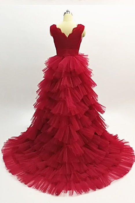 Burgundy Layered Long Evening A Line V Neck Tiered Tulle Prom Dress - Prom Dresses