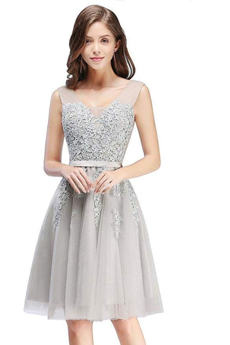 Burgundy Short Formal Gown Lace Applique V Neck Homecoming Dresses - Silver / US 2 - Prom Dress