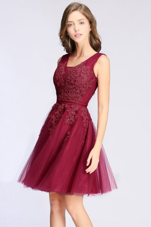 Burgundy Short Formal Gown Lace Applique V Neck Homecoming Dresses - Burgundy / US 2 - Prom Dress