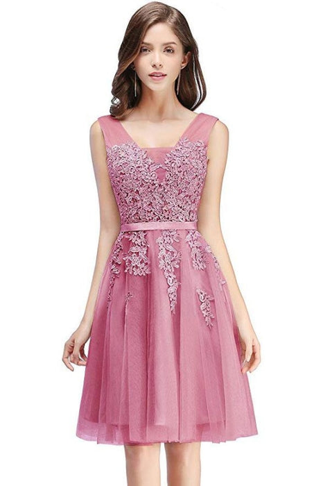 Burgundy Short Formal Gown Lace Applique V Neck Homecoming Dresses - Dusty Rose / US 2 - Prom Dress
