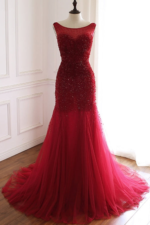 Burgundy Tulle Open Back Beaded Long Mermaid Prom Dress - Prom Dresses