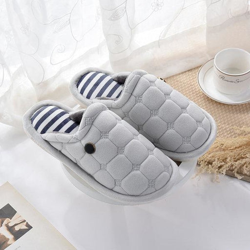 Button Slip On Warm Floor Indoor Flat Home Slippers - home shoes