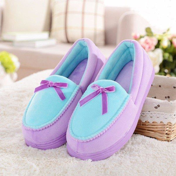 Candy Color Bowknot Slip On Flat Home Shoes - Purple / 5 - home shoes