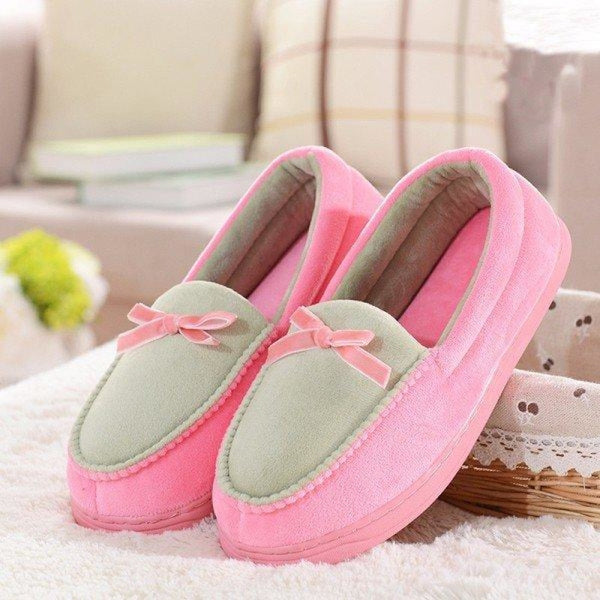 Candy Color Bowknot Slip On Flat Home Shoes - Coffee / 5 - home shoes