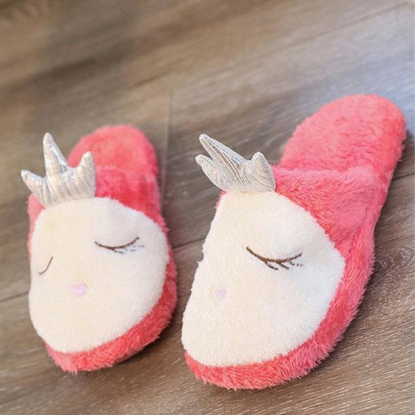 Cartoon Plush Slippers Warm Bedroom Home Shoes - Red / US 5 - home shoes