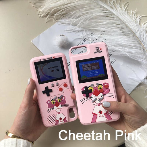 Gameboy Soft Phone Case Cover For iPhone 36 Classic Game Console Silicone Cover - IPhone 6 6s / Cheetah Pink