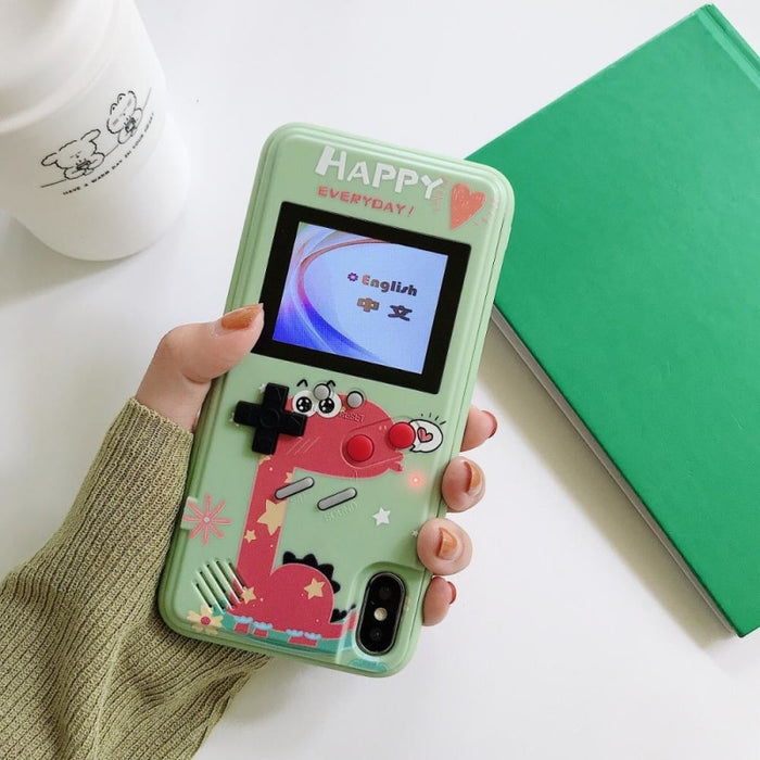 Case Cover for iPhone with 36 Classic Games (Buy 2 Get EXTRA 20% OFF) - For iPhone 6/6s / Pink Dinosaur