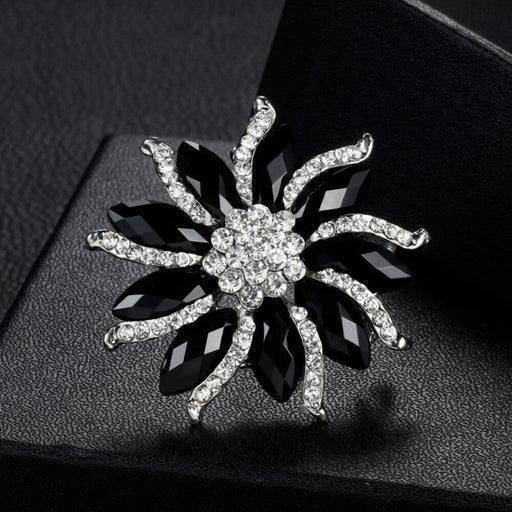 Charm Black Crystal Flower Wedding Brooches | Bridelily - brooches