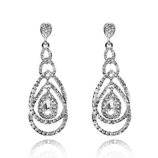Charm Crystal Silver Plated Wedding Earrings | Bridelily - earrings