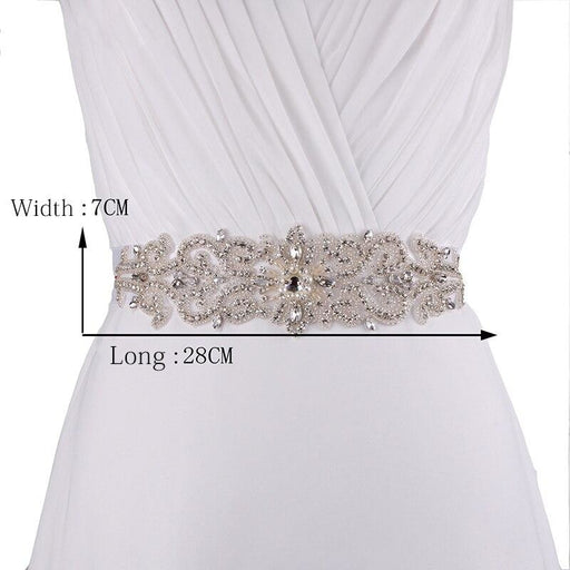 Charming Beaded Crystal Ivory Wedding Sashes | Bridelily - White / One Size - wedding sashes