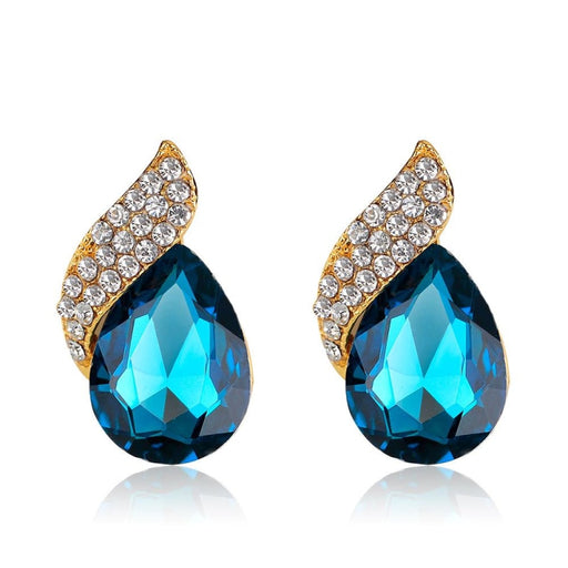 Charming Crystal Handmade Wedding Earrings | Bridelily - Peacock Blue - earrings