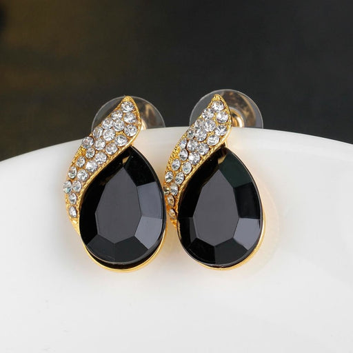 Charming Crystal Handmade Wedding Earrings | Bridelily - Black - earrings