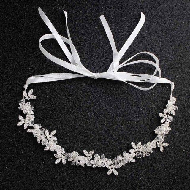 Charming Crystal Leaves Flexible Headbands | Bridelily - Silver - headbands