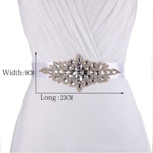 Charming Crystals Beaded Wedding Sashes | Bridelily - WHITE / One Size - wedding sashes