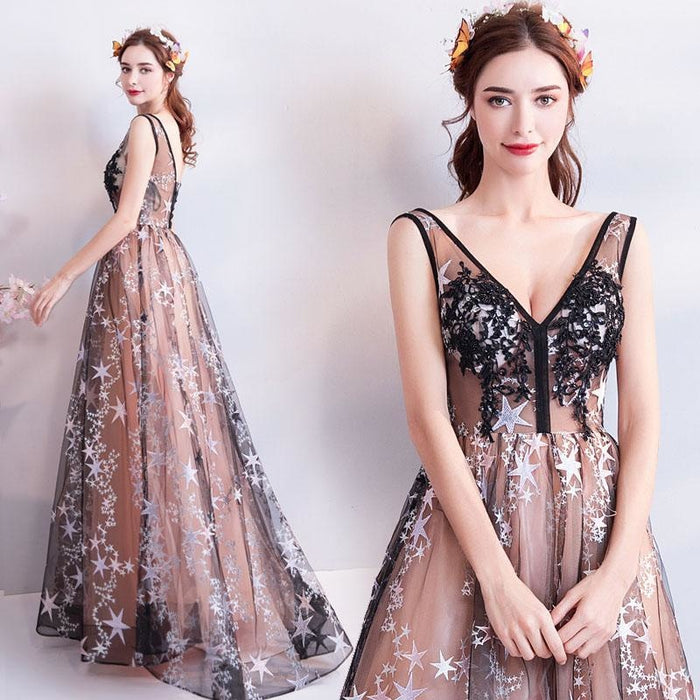 Charming Floor Length Sleeveless Prom with Stars A Line Appliques Evening Dress - Prom Dresses