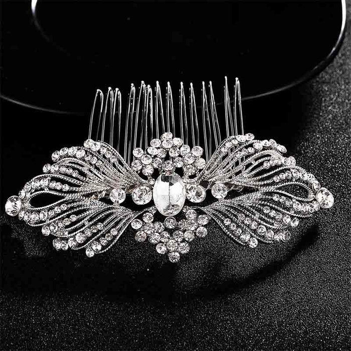 Charming Flower Crystal Rhinestone Combs & Barrettes | Bridelily - combs and barrettes