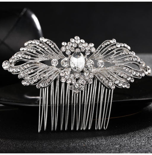 Charming Flower Crystal Rhinestone Combs & Barrettes | Bridelily - Silver-white - combs and barrettes