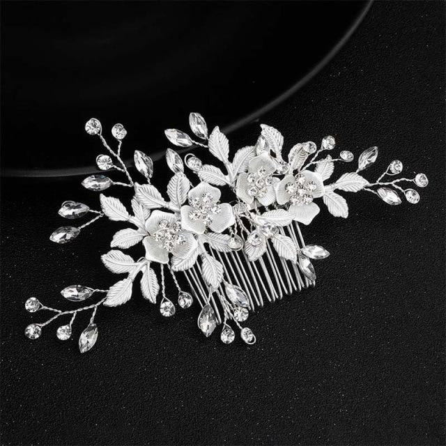 Charming Flowers Crystal Handmade Combs & Barrettes | Bridelily - Hair Comb 1 - combs and barrettes