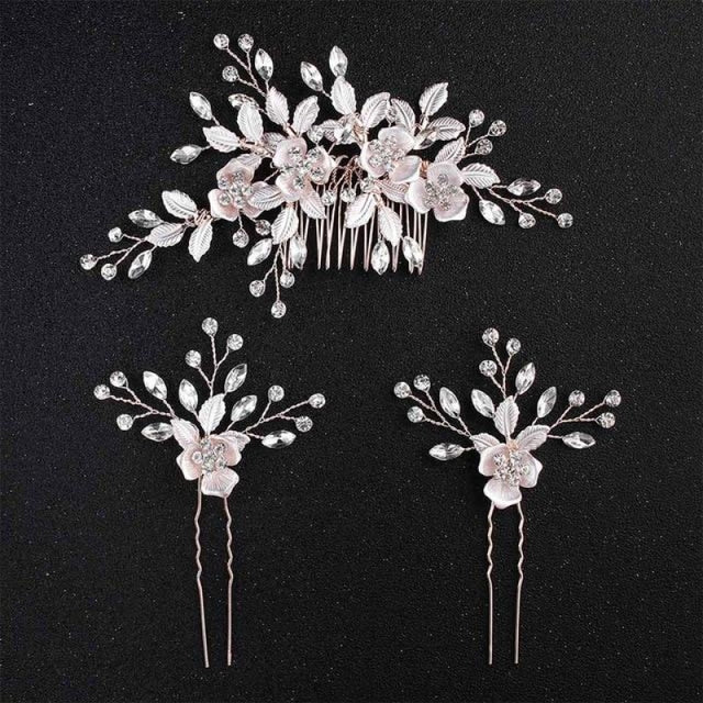 Charming Flowers Crystal Handmade Combs & Barrettes | Bridelily - Comb and 2PCS Pins - combs and barrettes
