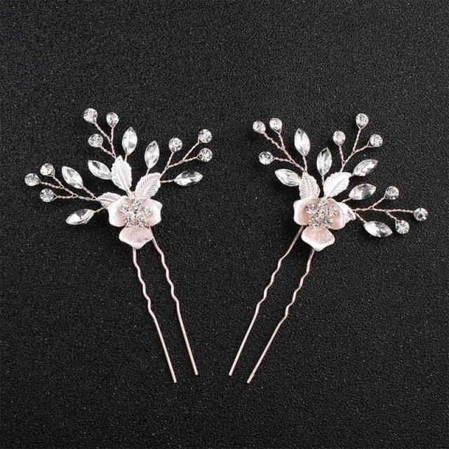 Charming Flowers Crystal Handmade Combs & Barrettes | Bridelily - 2PCS Hairpins - combs and barrettes