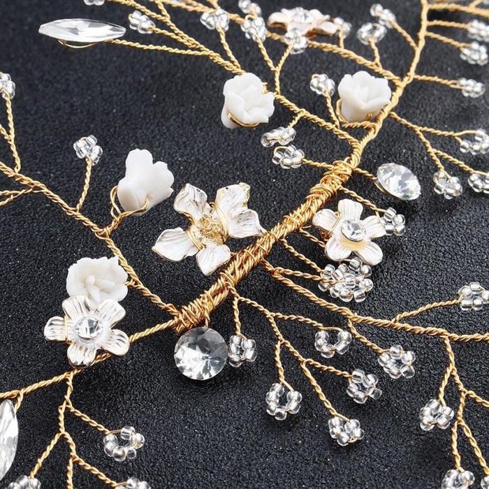Charming Gold Flower Crystal Womens Headbands | Bridelily - headbands