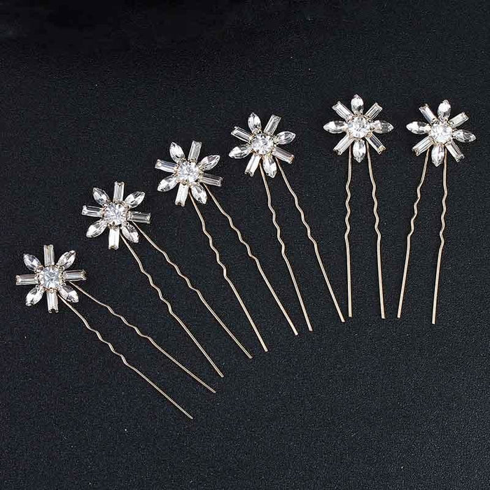 Charming Hair Pin Flower Pattern Hairpins | Bridelily - gold - hairpins