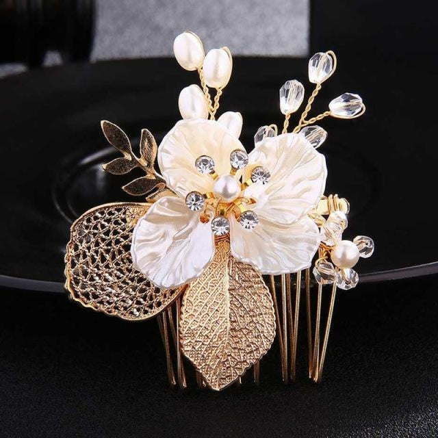 Charming Handmade Flowers Pearls Combs & Barrettes | Bridelily - Gold - combs and barrettes