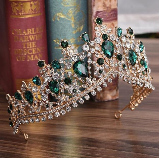 Charming Jewelry Princess Rhinestone Tiaras | Bridelily - Gold Green - tiaras