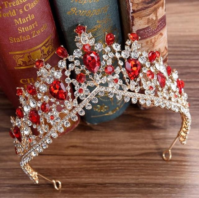 Charming Jewelry Princess Rhinestone Tiaras | Bridelily - Gold Red - tiaras