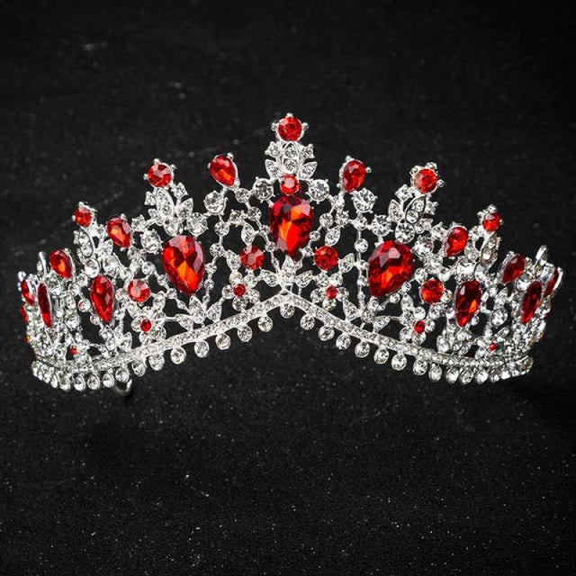 Charming Jewelry Princess Rhinestone Tiaras | Bridelily - Silver Red - tiaras