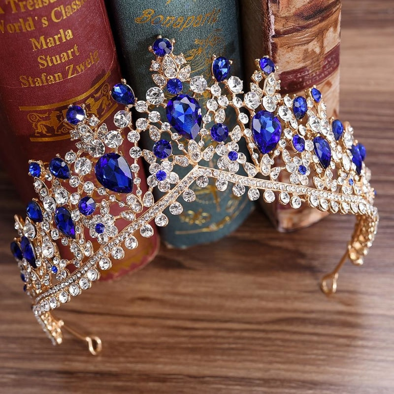 Charming Jewelry Princess Rhinestone Tiaras | Bridelily - Gold Blue - tiaras