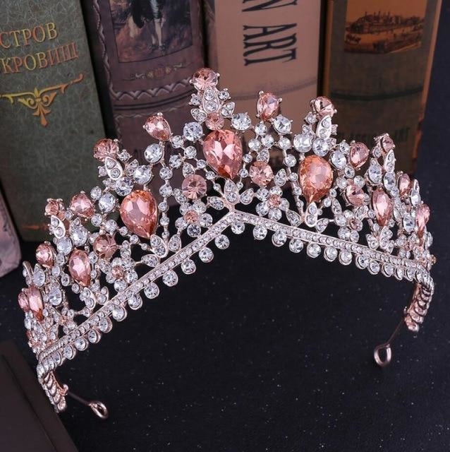Charming Jewelry Princess Rhinestone Tiaras | Bridelily - Rose Gold Pink - tiaras