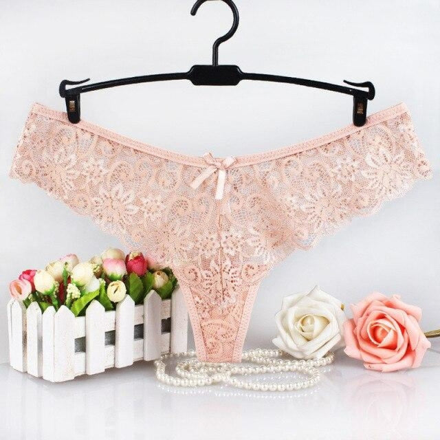 Charming Lace Hollow Low Waist Female Panties | Bridelily - Beige / L / 1pc - panties